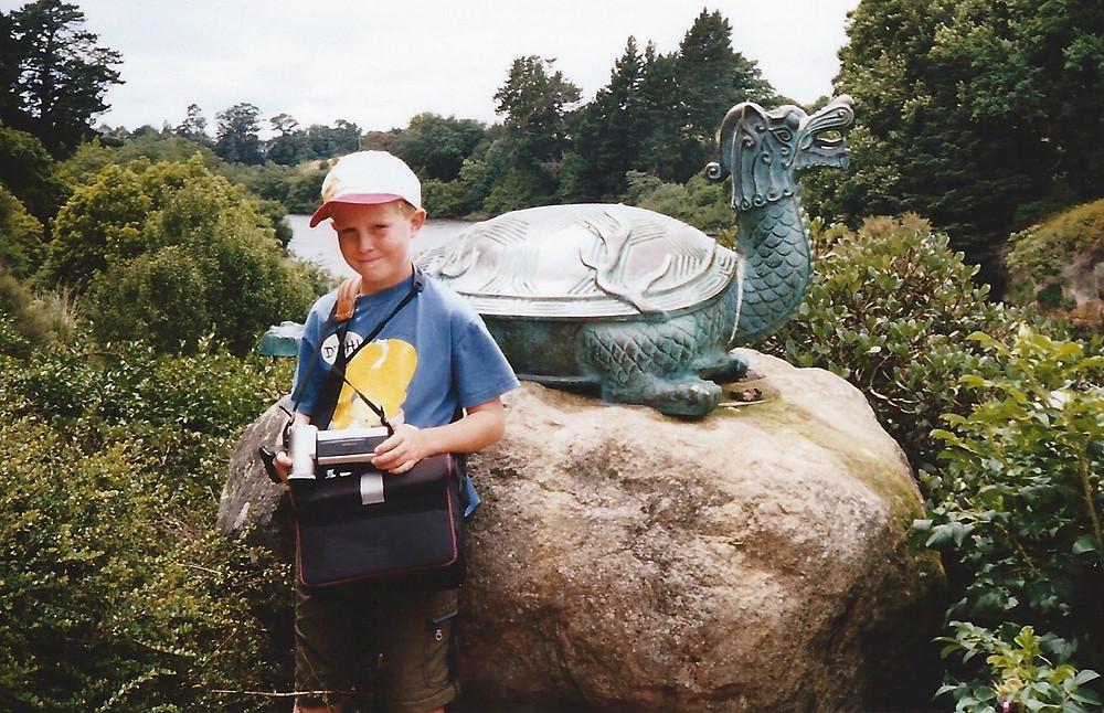 Sebastian Solberg with a camera at a young age