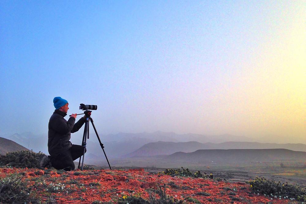 Sebastian filming in Kyrgyzstan