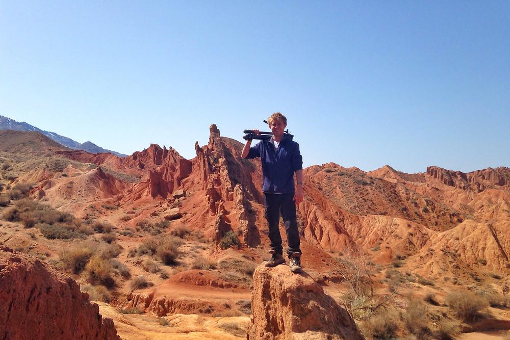 Sebastian in the hills of Kyrgyzstan