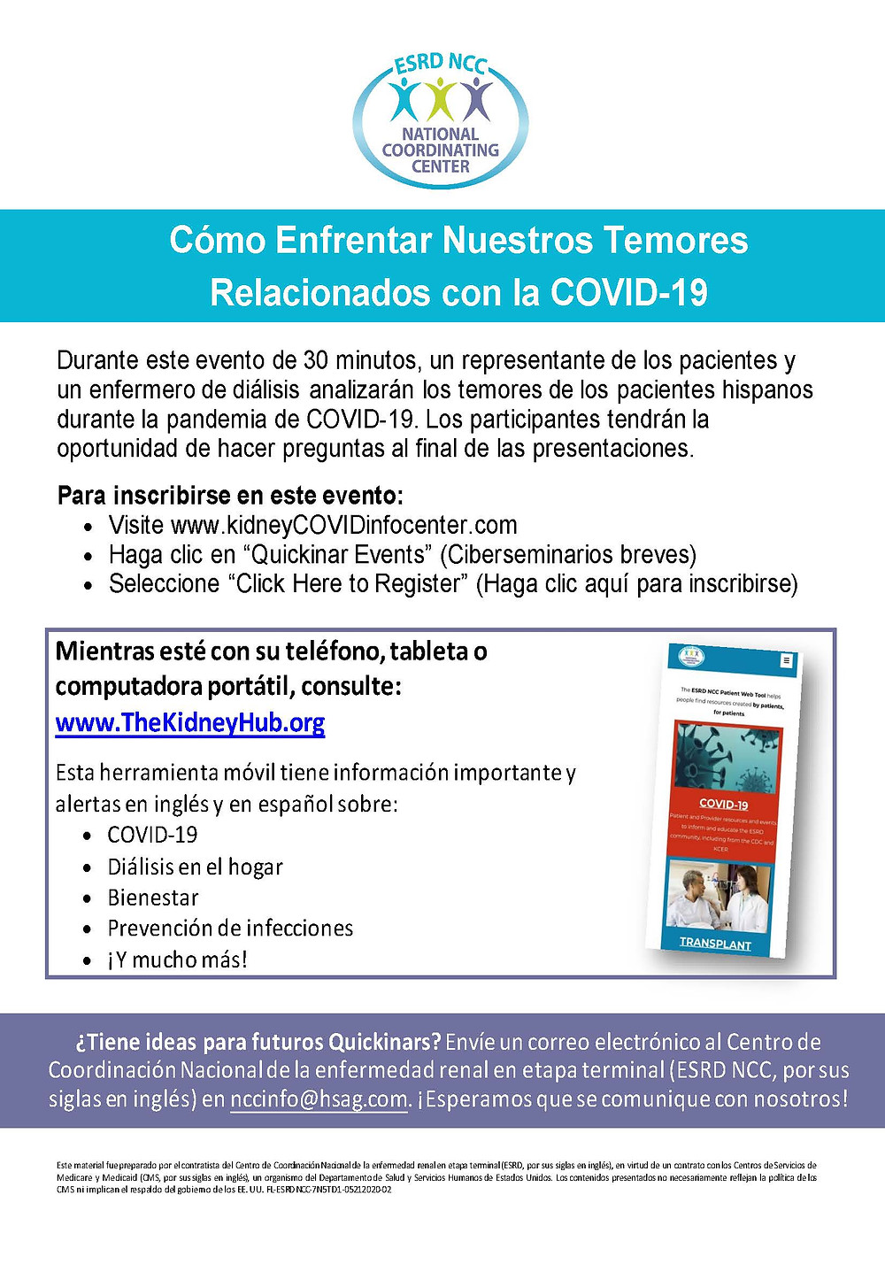 Flyer about Spanish Webinar happening on Tuesday May 26 at 5PM and Wednesday May 27 at 5PM