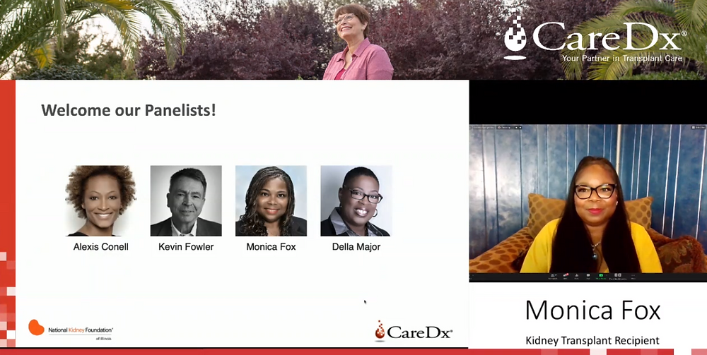Screen grab of webinar with panelist photos and Monica Fox