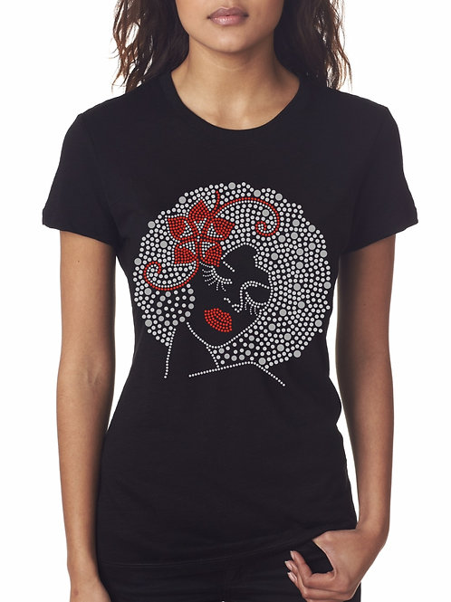 Red Flower Afro Tee