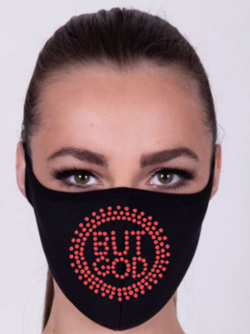 But God Rhinestone Black Mask