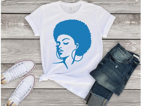 Glitter Blue Afro Tee