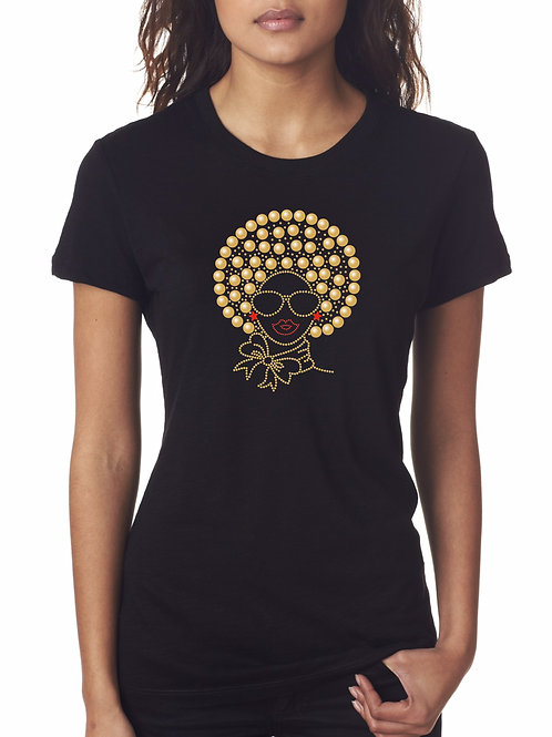 Gold Afro Buttons Tee