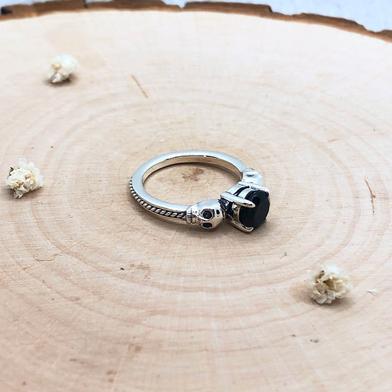 Guard Your Heart -  Skull & Onyx Ring