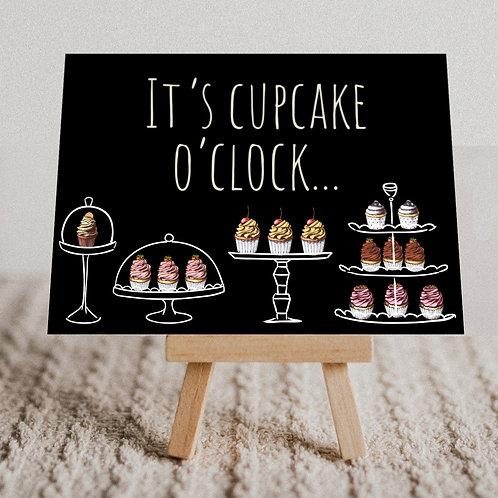 """It's Cupcake O'Clock"" Message Card"