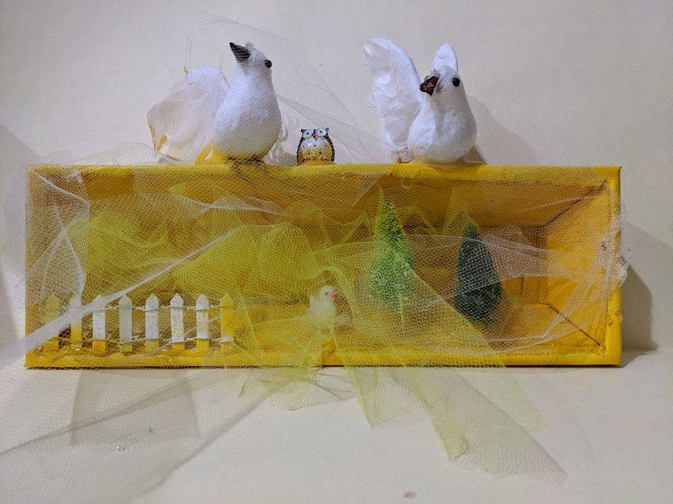 Doves on Yellow