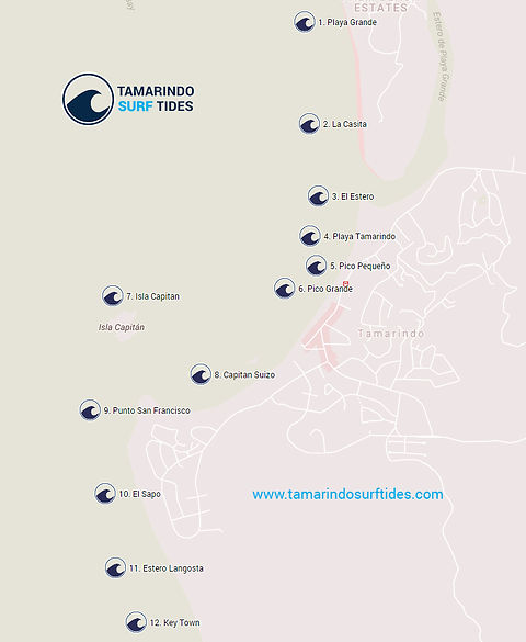 Tamarindo Surf Spots Map