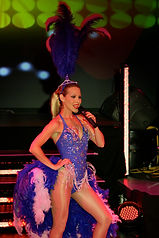 Rogue Minogue in her Showgirl feathers