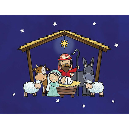 Nativity 6 Gift Wrap & 6 Tags