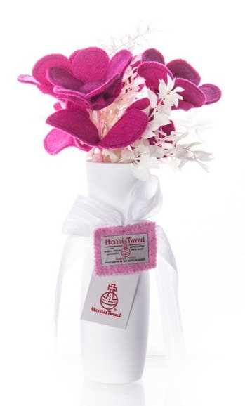 Hot Pink Harris Tweed Bouquet
