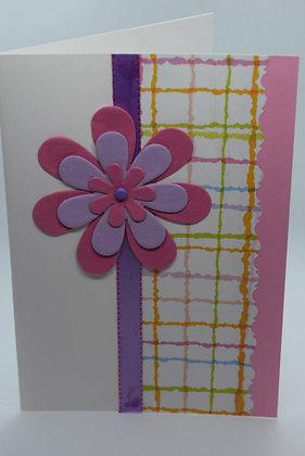 Handmade Pink Flower Card