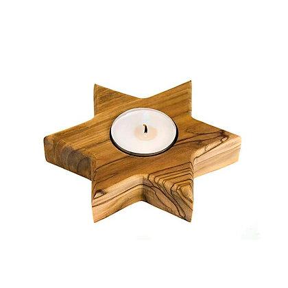 Olive Wood Star Tea Light Holder