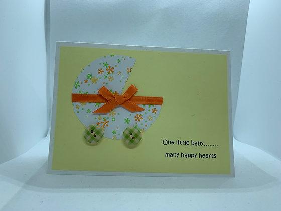 Handmade 'Many Happy Hearts' New Baby Card