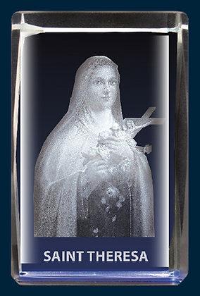 Lazer Engraved Crystal/ Saint Theresa