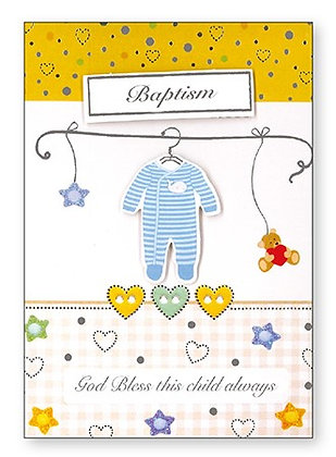 Baby Boy Baptism Card/ 3D