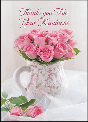 Thank You For Your Kindness Pale Roses Card