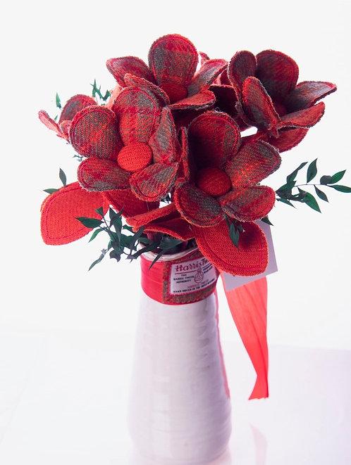 Red Harris Tweed Fabric Flower Stem