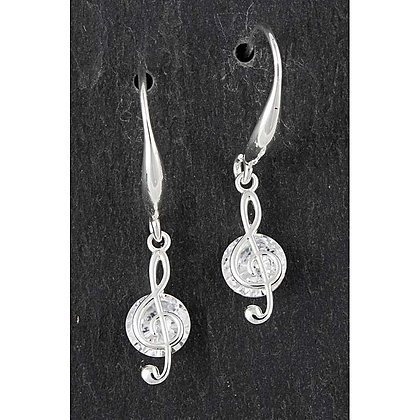 Silver Plated Treble Clef Earrings