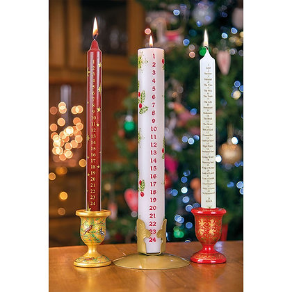 Stars Advent Candle (Red with Gold Text)