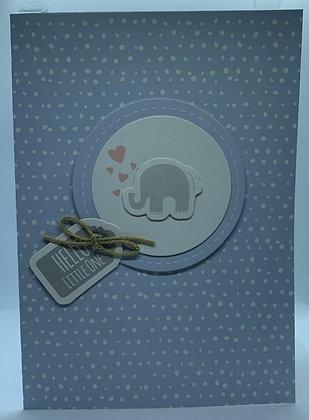 Handmade Elephant New Baby Card
