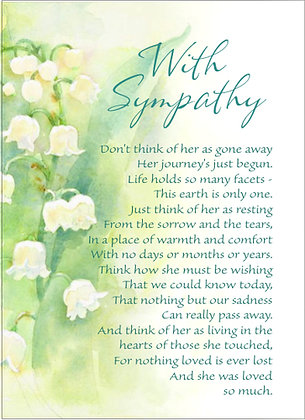 Don't Think Of Her as Gone Sympathy Card