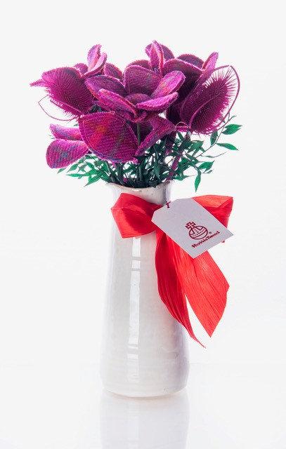Cerise Pink Harris Tweed Bouquet
