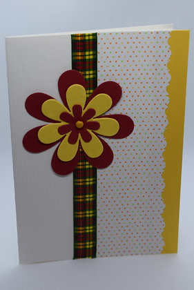 Handmade Tartan Flower Card