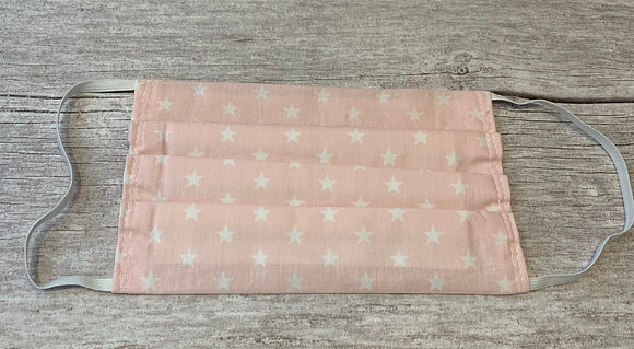 Handmade Non Medical Mask- Pink & White Star