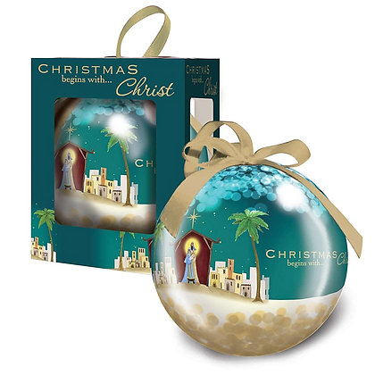 Teal 'Christmas Begins with Christ' Bauble