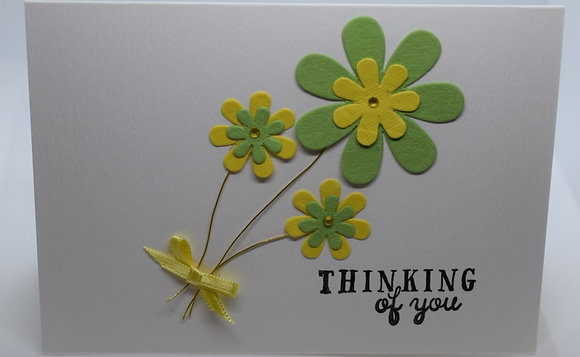 Handmade Thinking Of You Flower Card