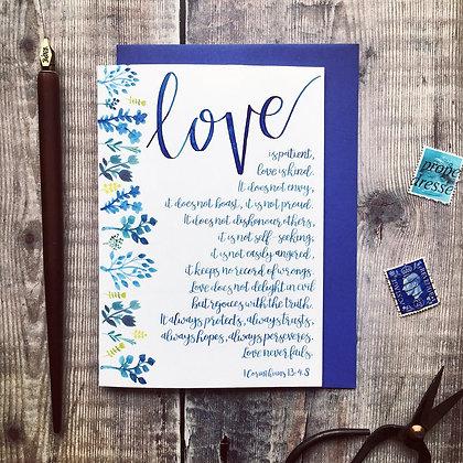 Floral Blue Love Is Patient A6 Card - 1 Corinthians 13:4-8