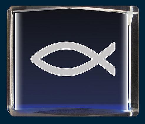 Lazer Engraved Crystal/ Fish Symbol