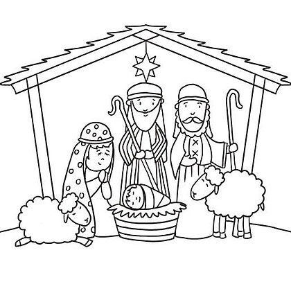20 Nativity Colouring Cards