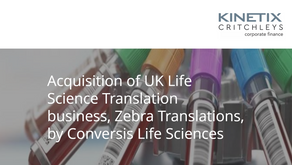 Acquisition of UK Life Science Translation business, Zebra Translations, by Conversis Life Sciences