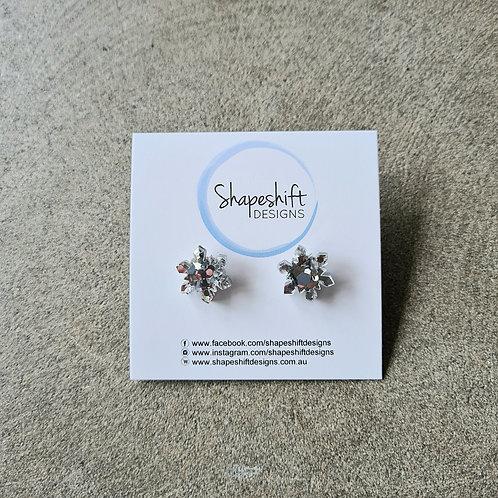 Acrylic Snow Flake Stud Earrings by Shapeshift Designs