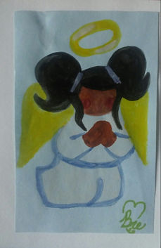 Black Girl Angel_3x4.75_watercolor paint