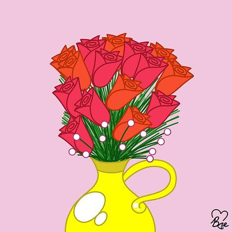 1. Red Orange + Yellow Flowers in Vase.j