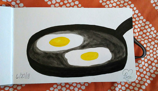Eggs in Frying Pan_5.25x8.25_watercolor