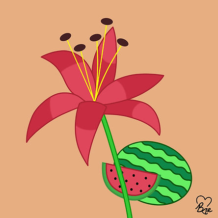78. Red Lily & Watermelon.jpg