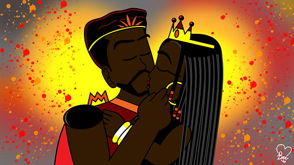 King Mantle and Queen Caldera Kiss Signe