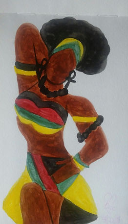 African Woman_5.25x8.25_watercolor paint