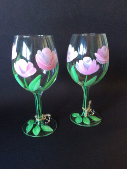 One Stroke Rose Painted Wine Glasses