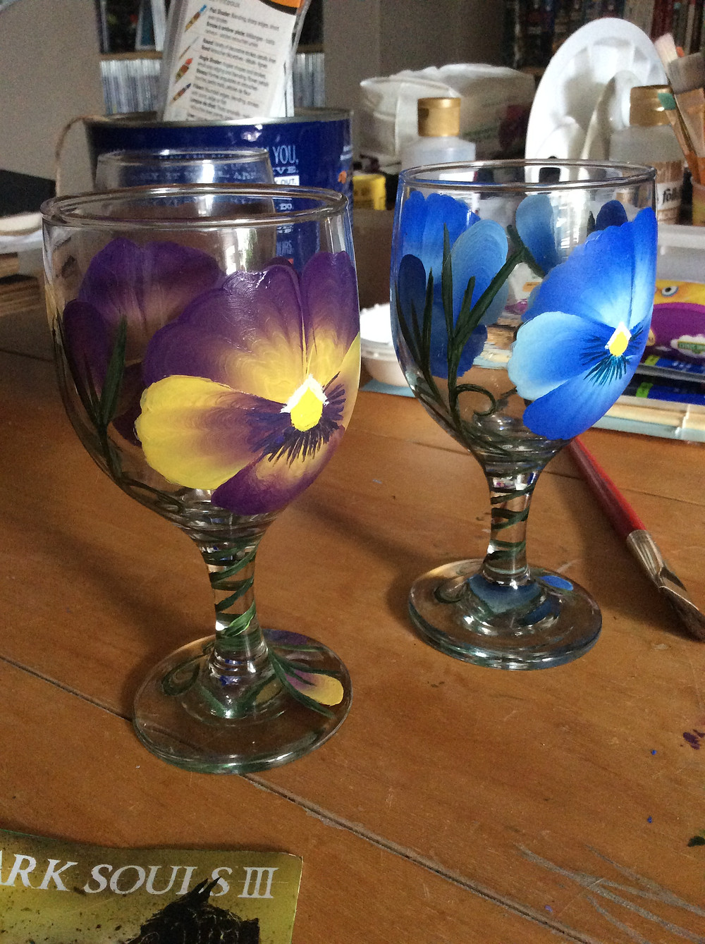 Purple, Yellow, and Blue Pansies on Hand Painted Wine Glasses