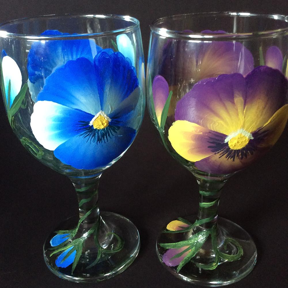Pansies on Painted Wine Glasses