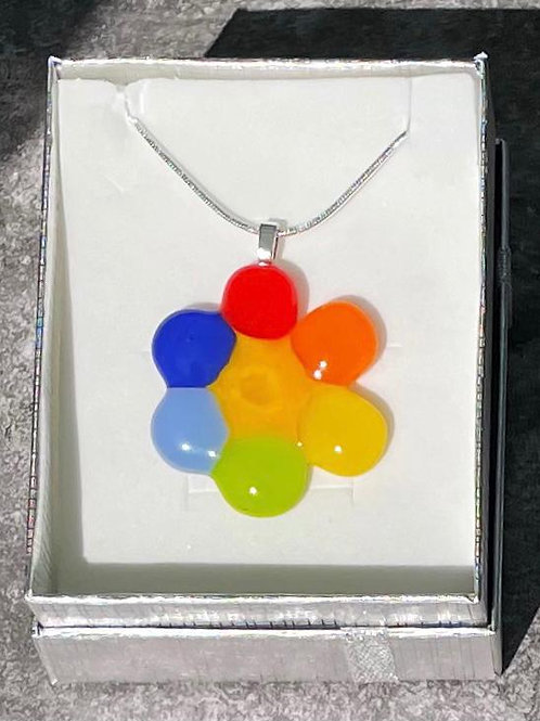 Opaque Rainbow Flower Necklace