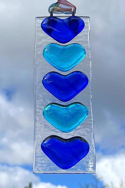 Blue Hearts Suncatcher