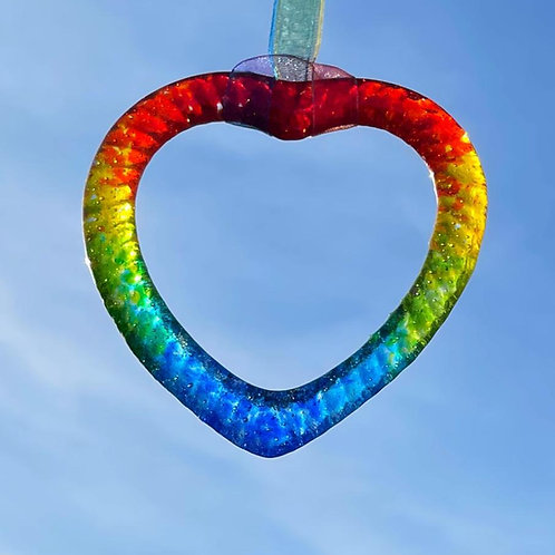 Rainbow Heart Suncatcher 9cm x 8cm