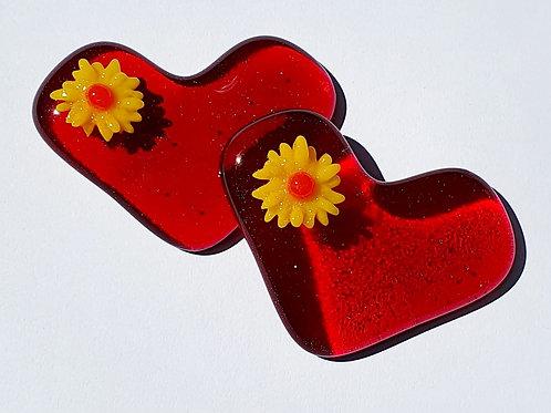 Raised Flower Heart - Red